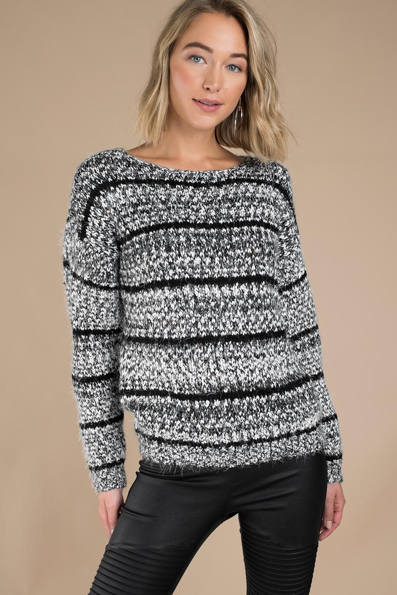 Beki Black & White Striped Sweater