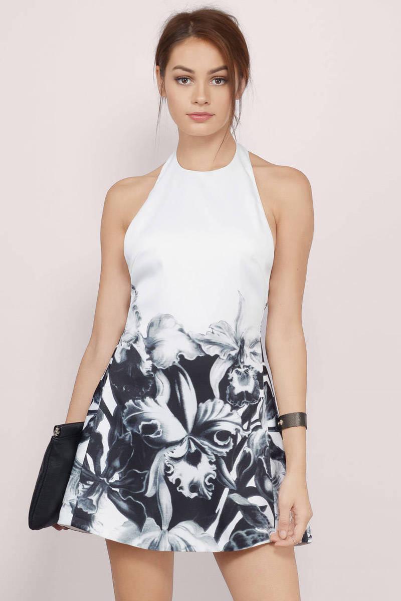 Bloom Escape Black & White Skater Dress