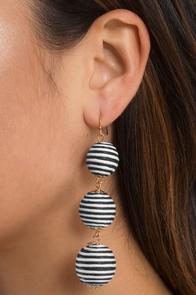 Don T Drop The Ball Black White Earrings
