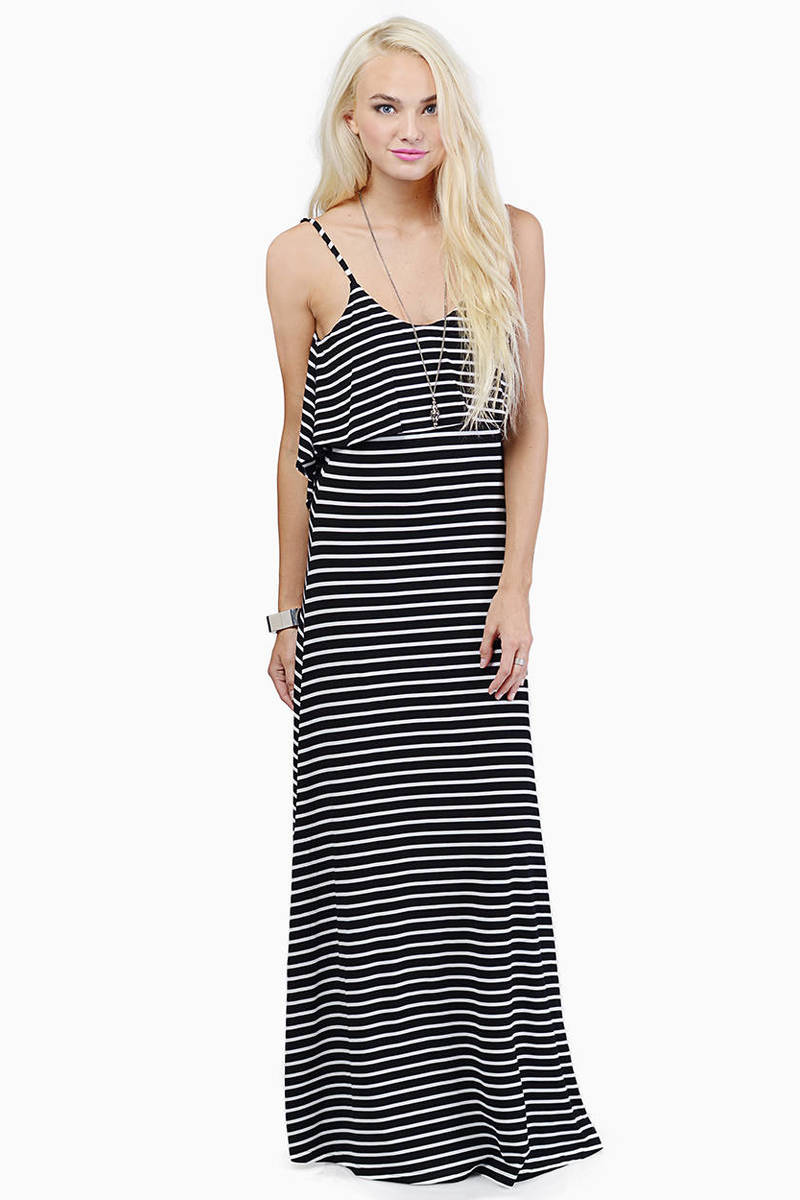 Earn My Stripes Black & White Off The Shoulder Maxi Dress