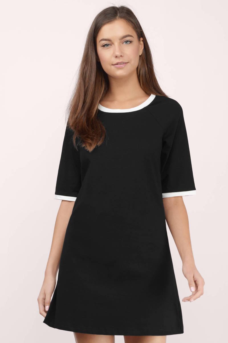 Easy Sunday Black & White Shirt Dress