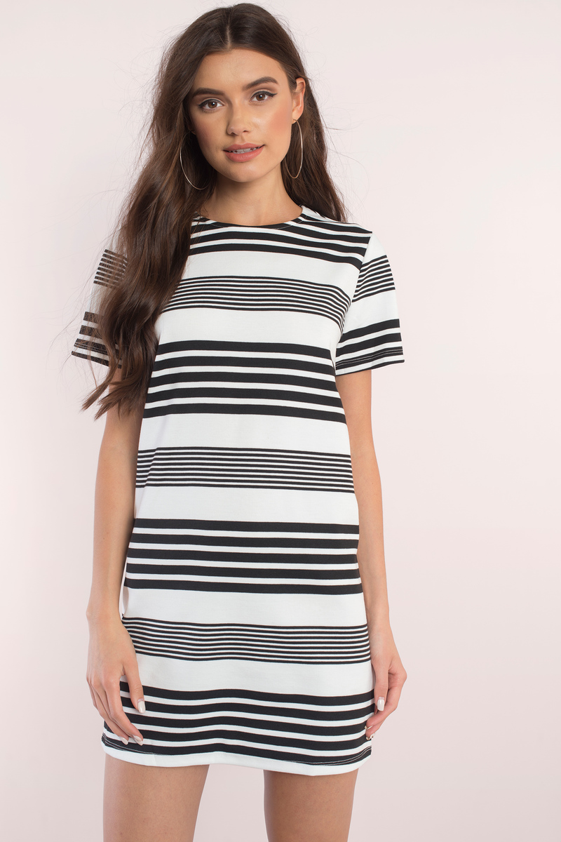 585bdd3fed544 Black & White Dress - Short Sleeve Dress - Nice Dress - Day Dress ...