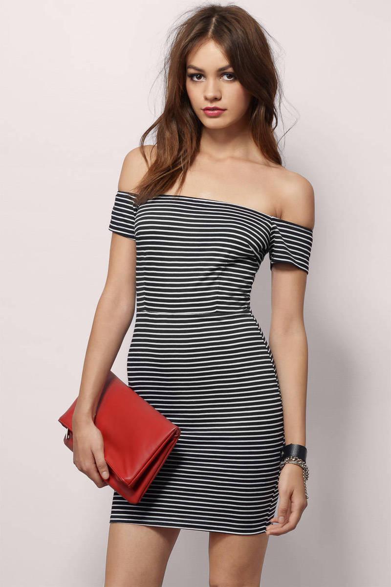 Gracelyn Ivory & Black Striped Bodycon Dress