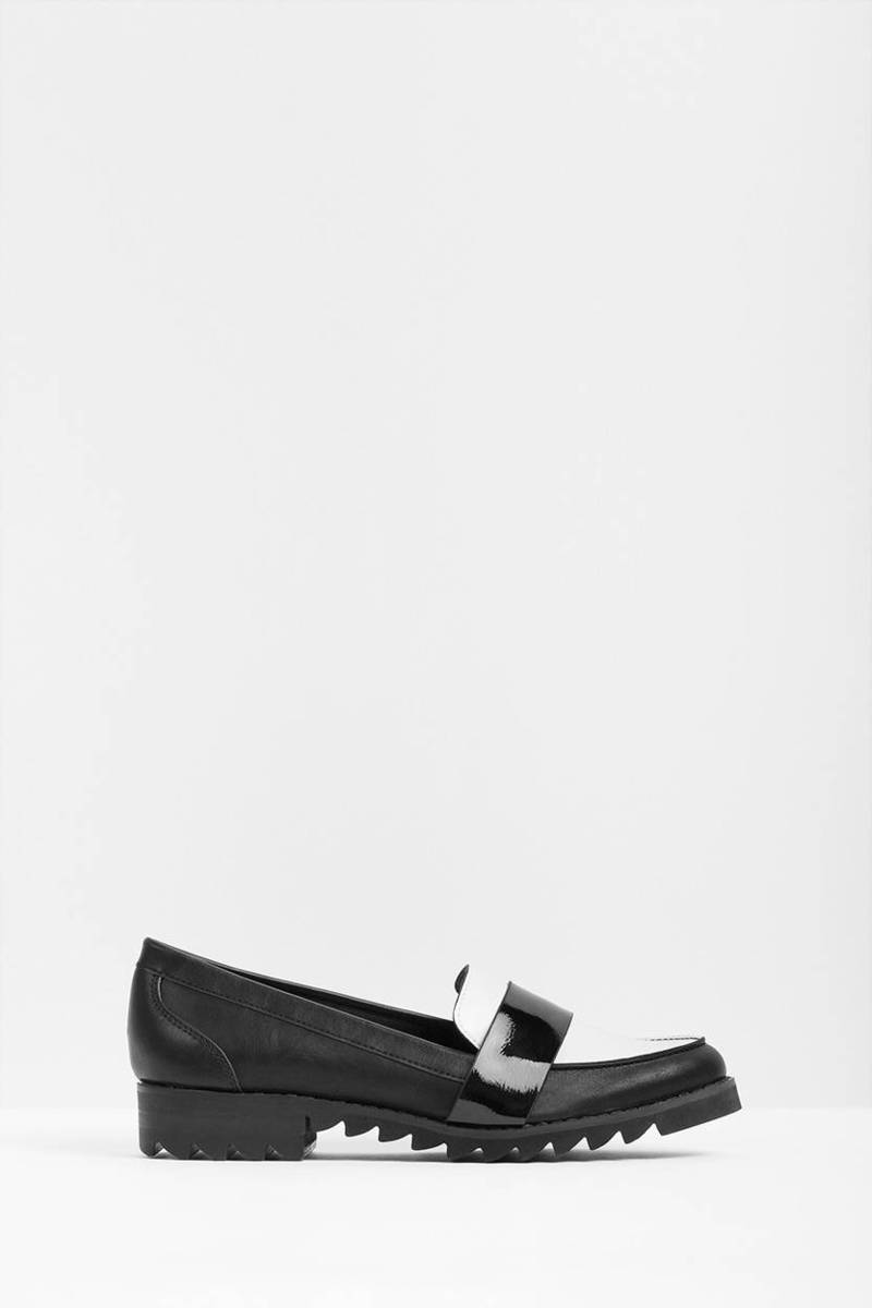 Report Footwear Report Footwear Jerrie Black & White Leather Loafer