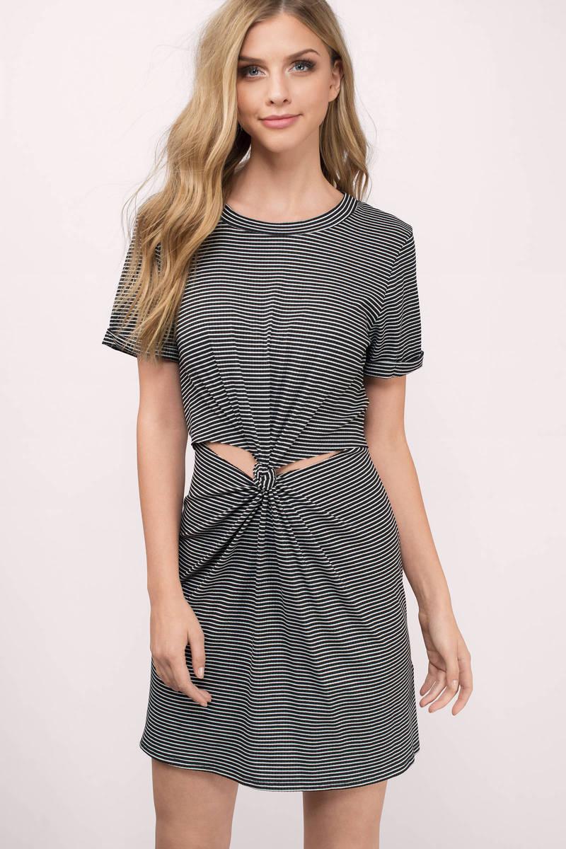 7f745a632183 Black Shift Dress - Twist Front Dress - Black Striped T-Shirt Dress ...
