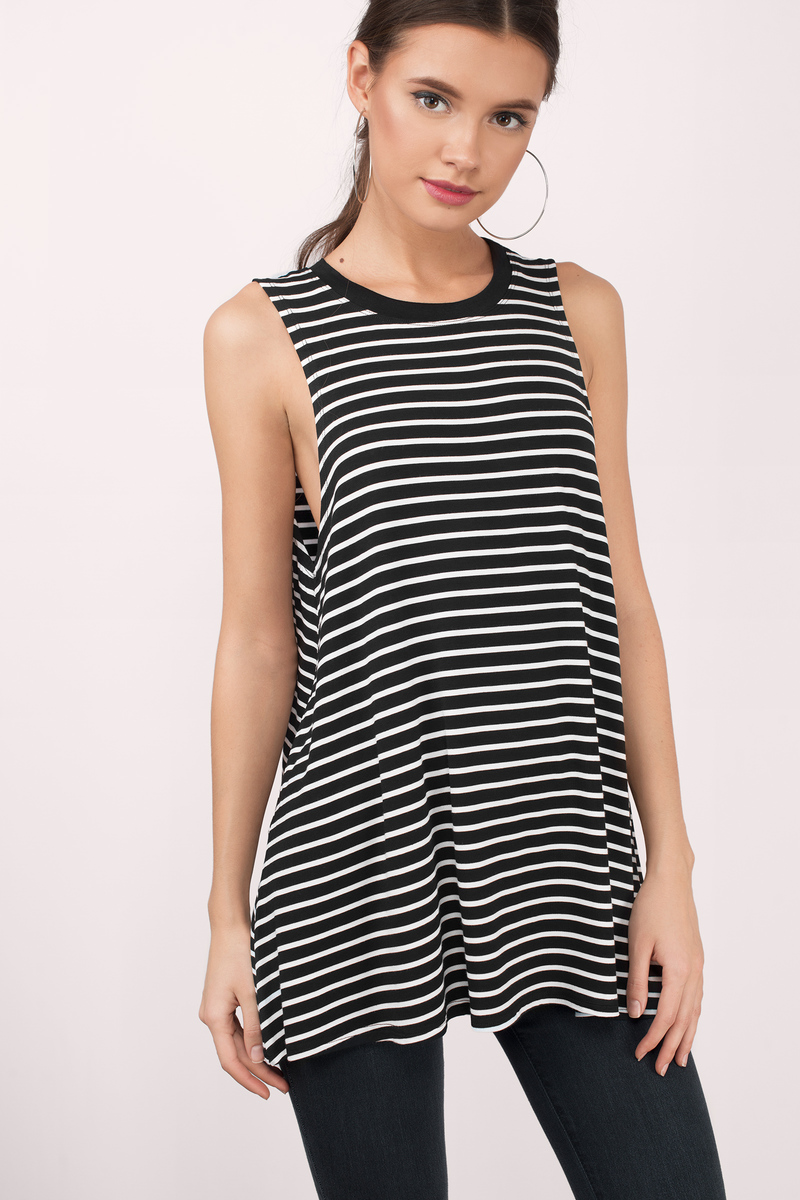 Maggie Black & White Striped Tank