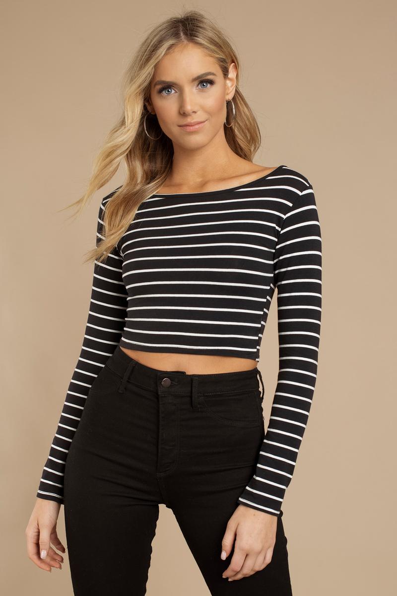 Merced Black & White Striped Crop Top