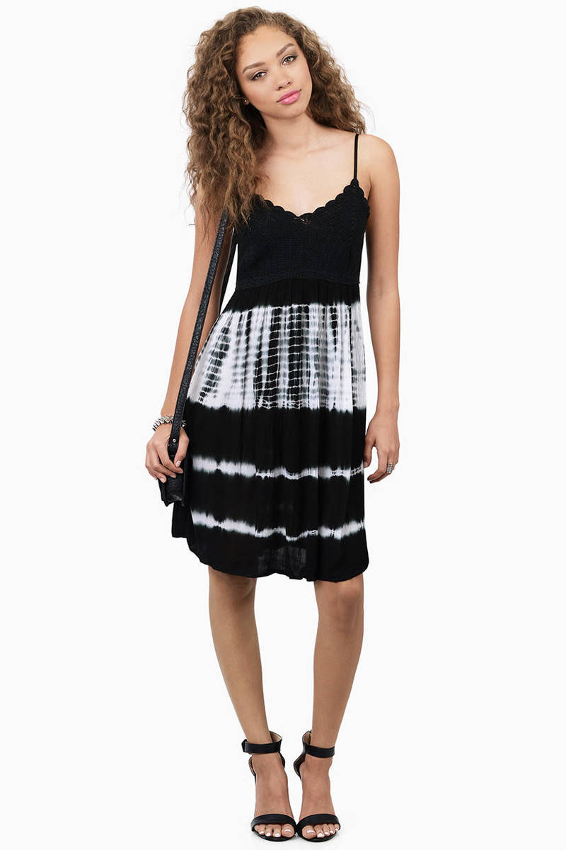 Nothing Better Black & White Tie Dye Skater Dress