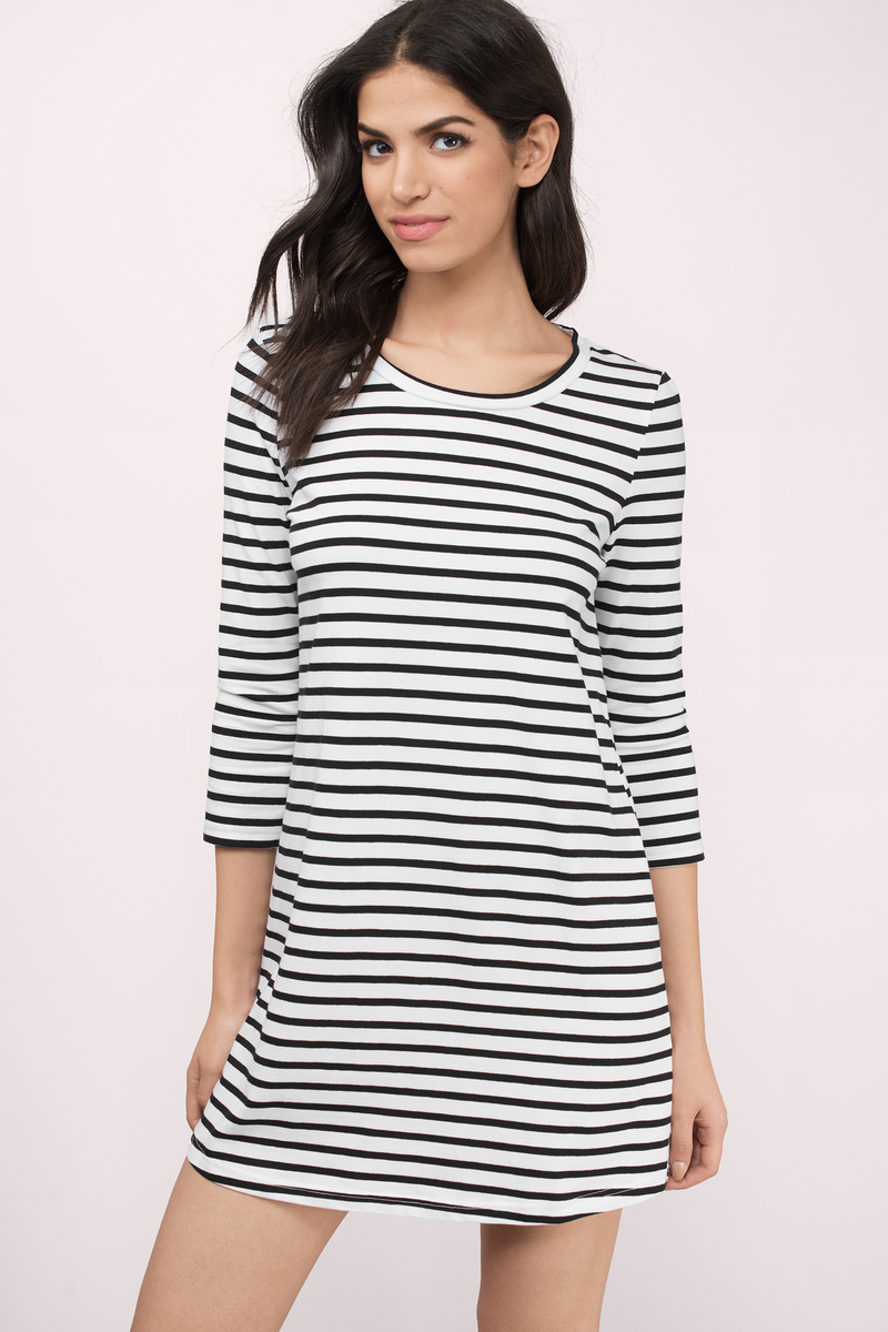 Partner In Crime Grey & White Striped Shift Dress