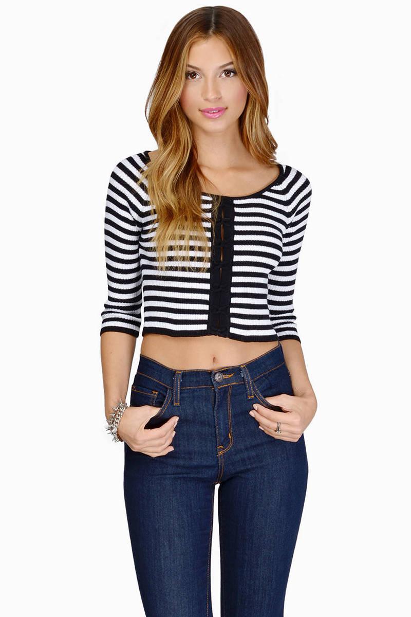 Racey Stripes Black & White Crop Top