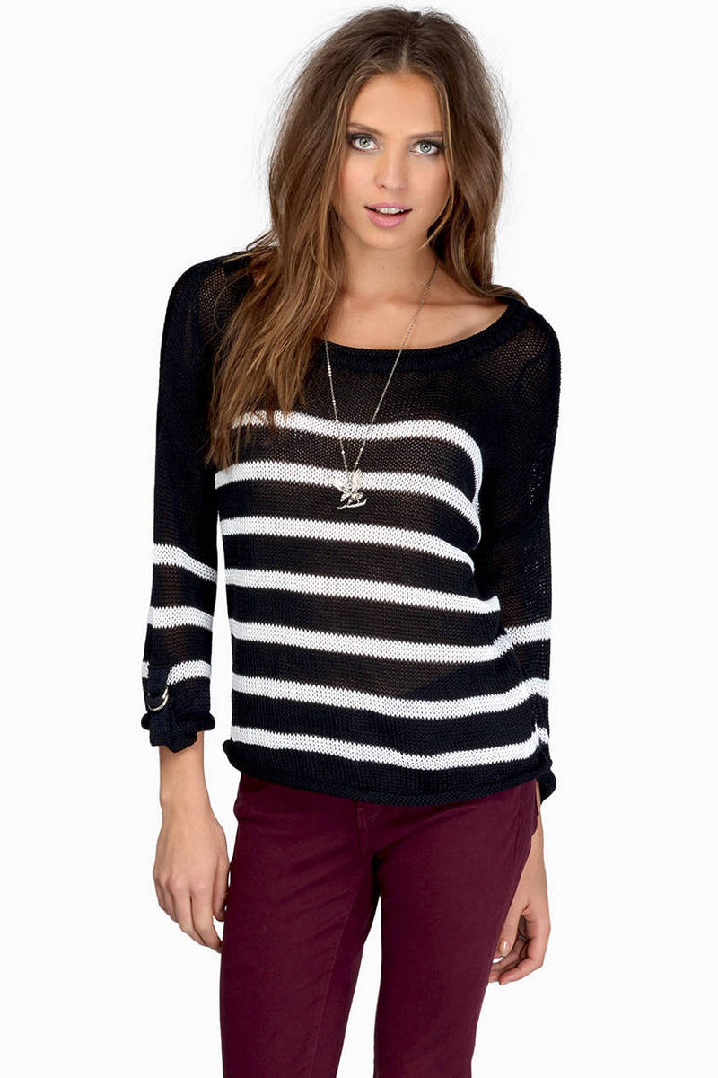 Stay In Your Lane Black & White Striped Sweater