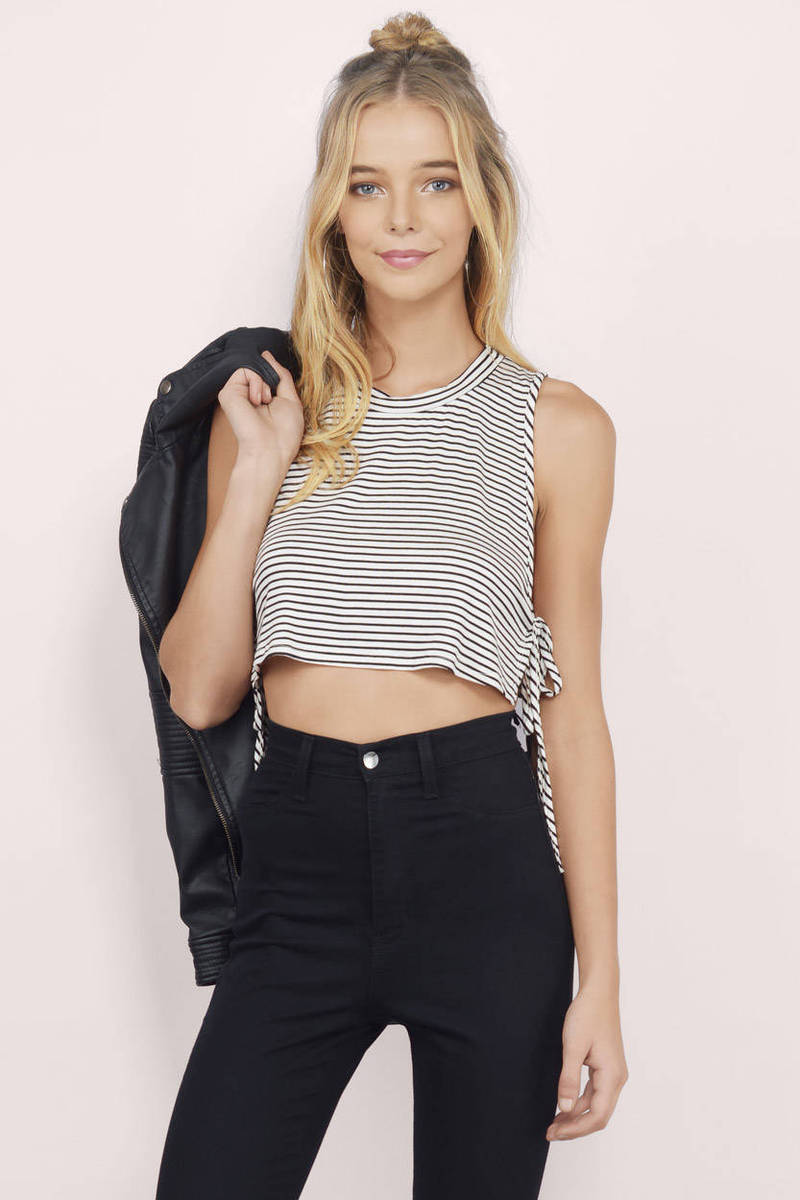 Tie It There Black & White Striped Crop Top