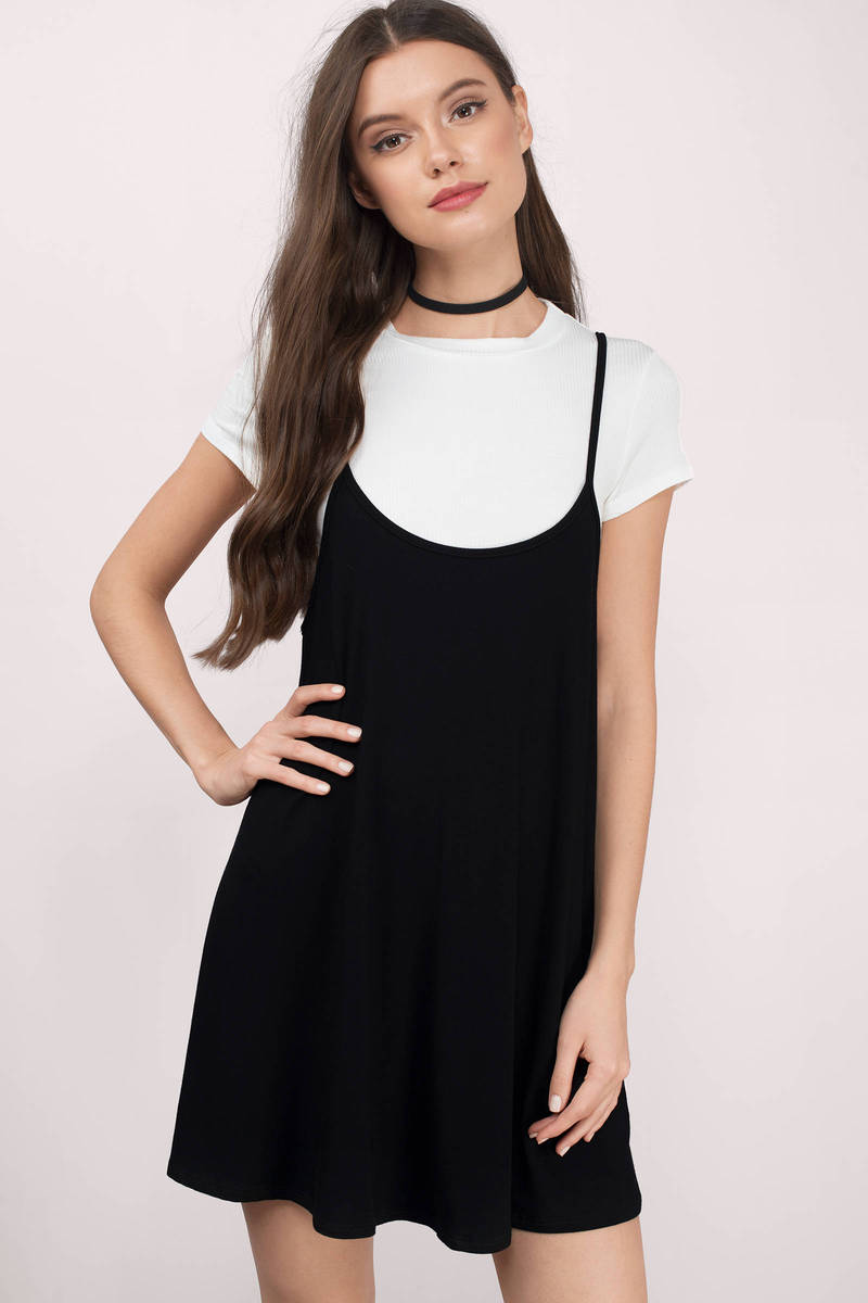 Twos A Party Black & White  Jersey Knitted Shift Dress