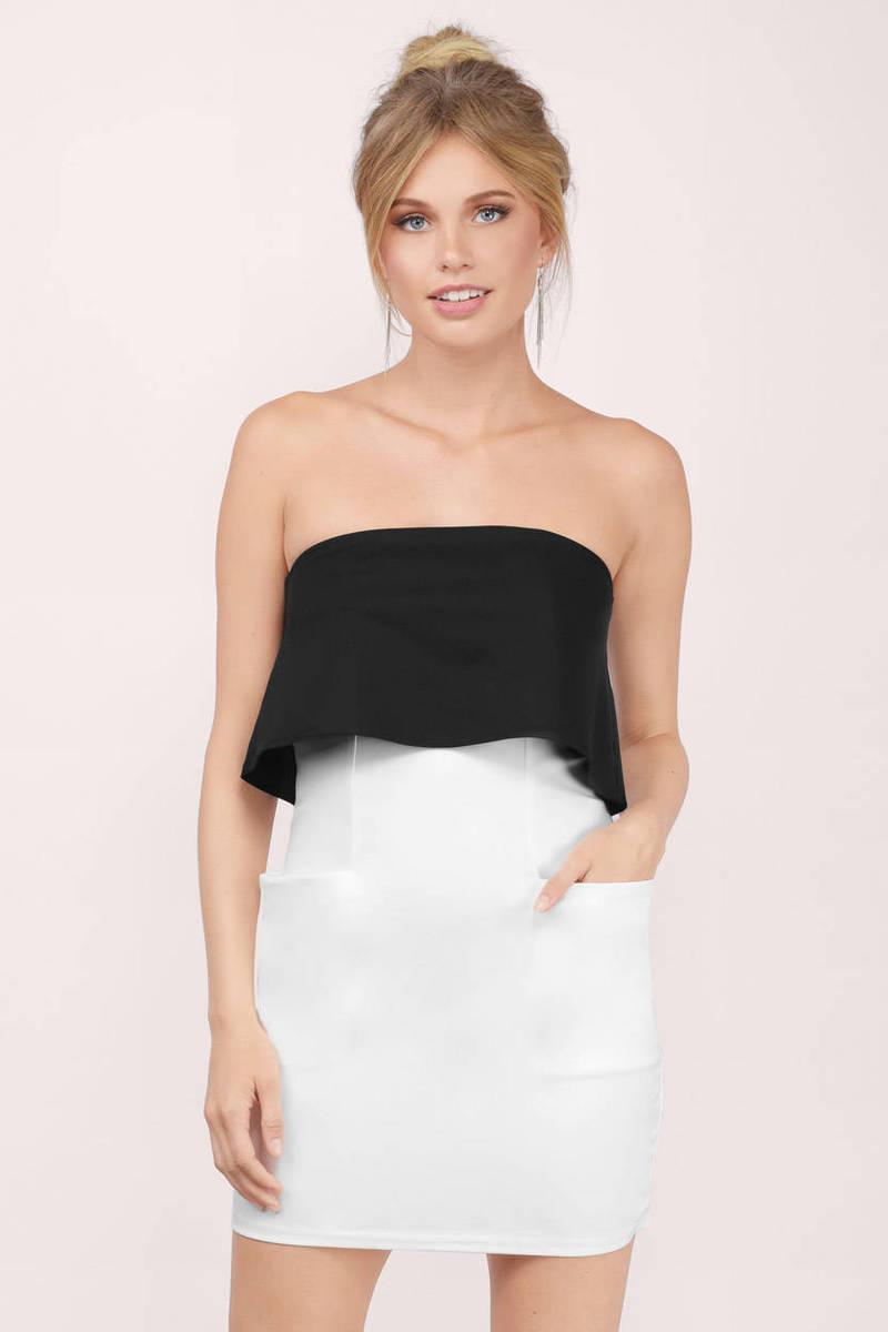 Up The Ante Black & White  Bodycon Dress