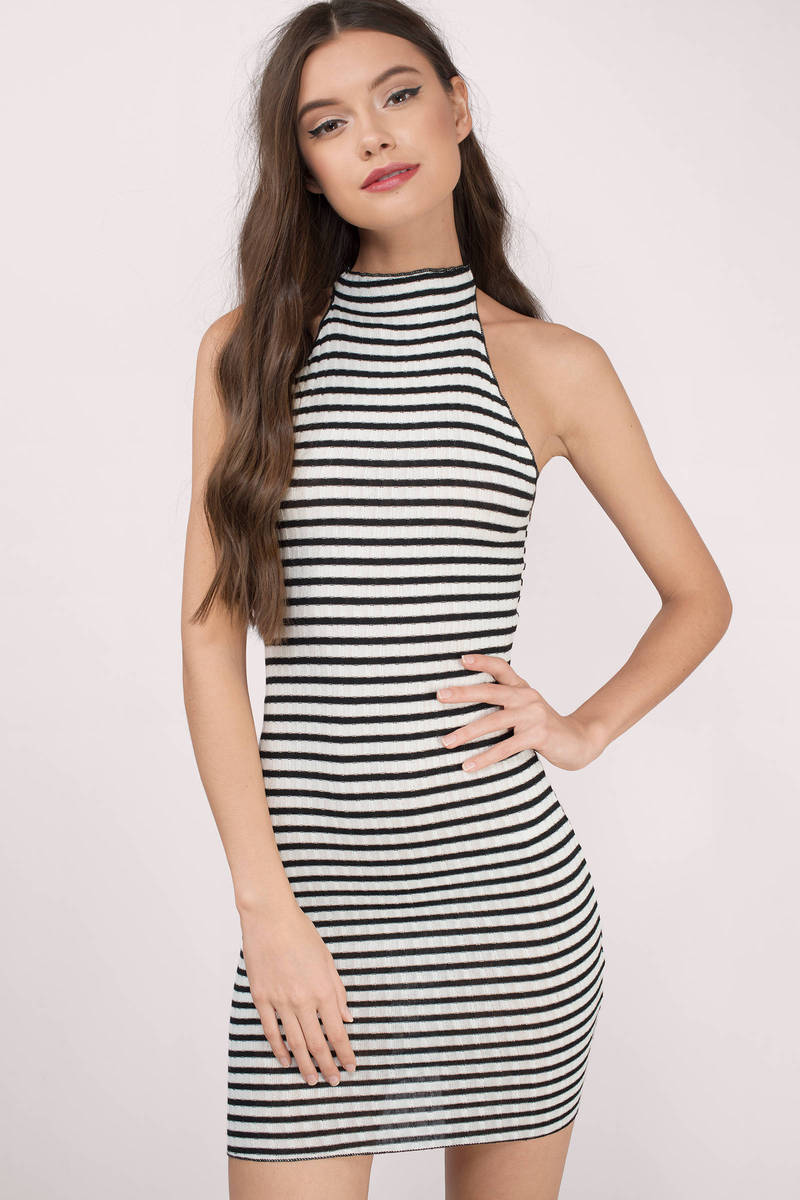 Yoselin Black & White Striped Cotton Bodycon Dress