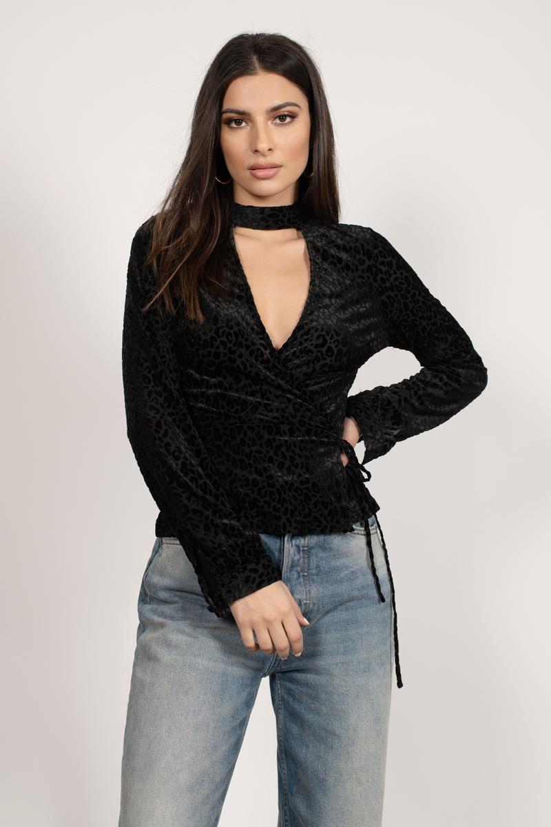 38e7daae79d5 Black Blouse - Animal Print Blouse - Black Velvet Blouse - $22   Tobi US