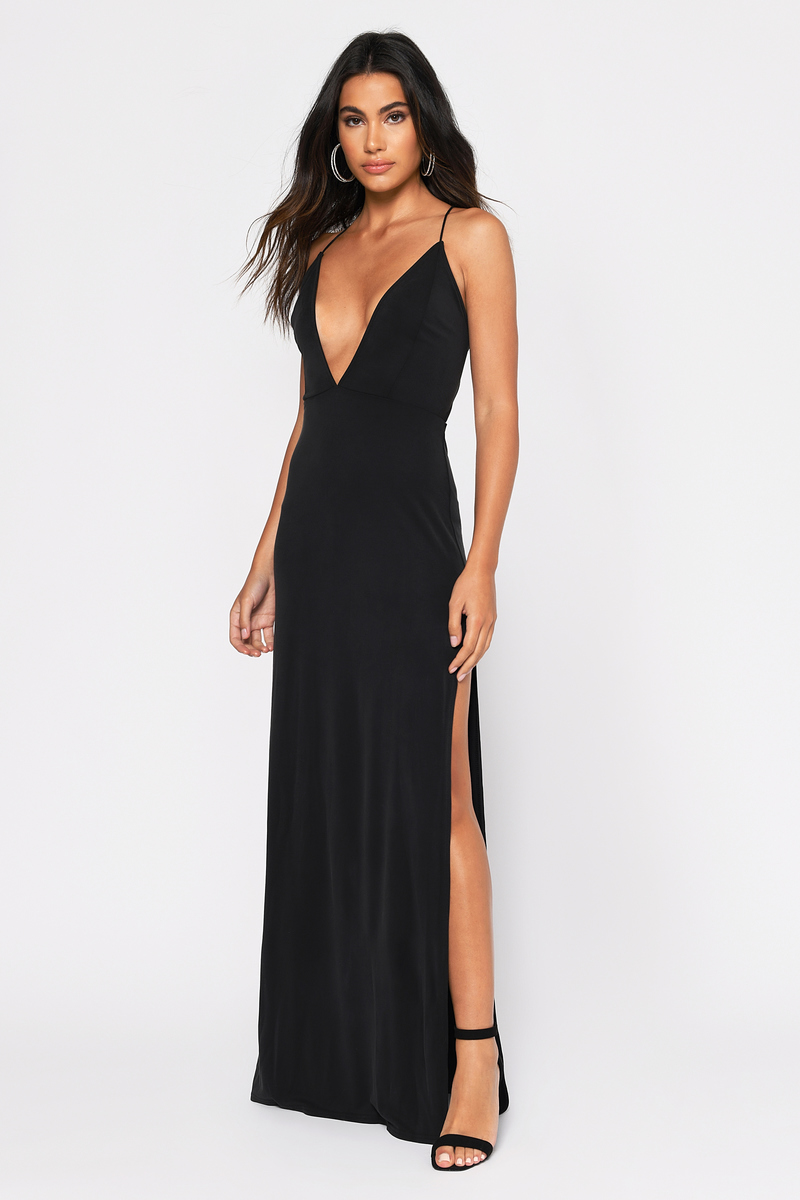 6a1160f53645f Sexy Black Dress - Strappy Back - Plunging Neckline - S$ 51 | Tobi SG