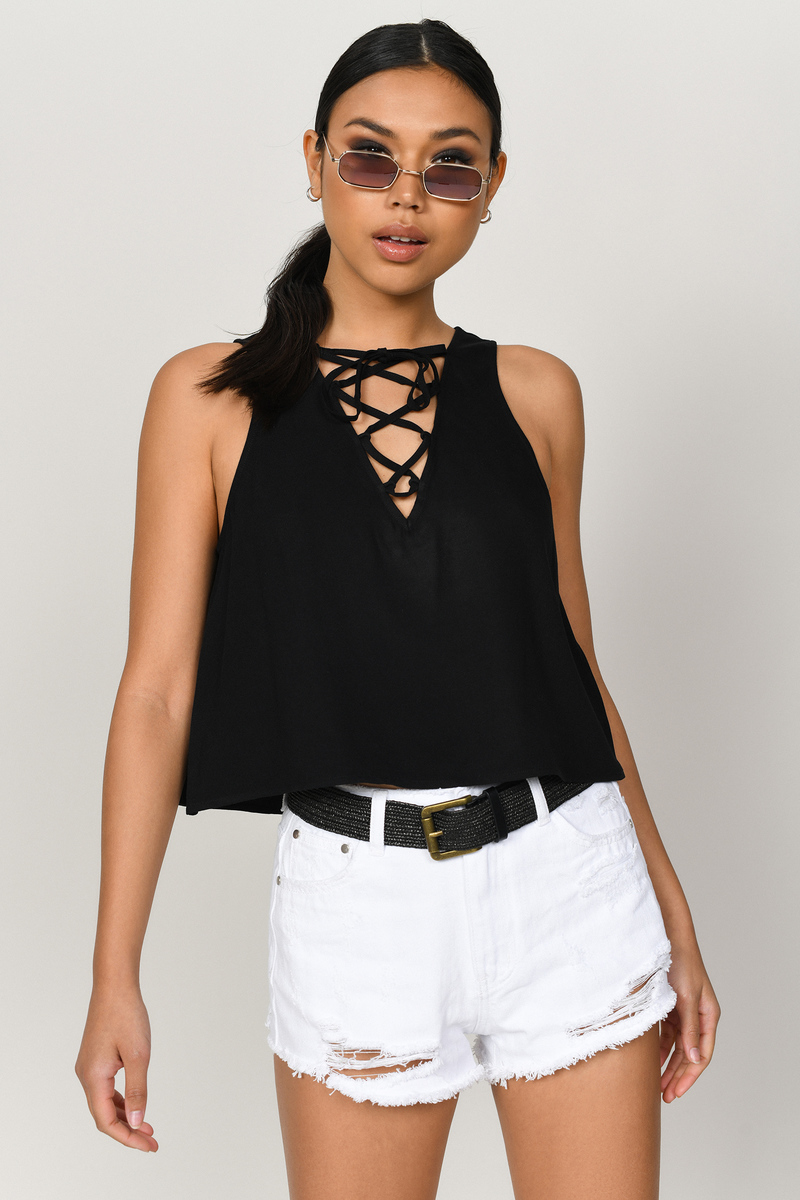 Willow Wine Lace Up Crop Tank