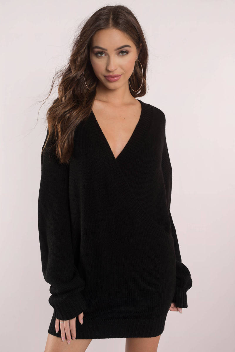 Cute Black Dress - Deep V - Black Oversized Sweater - $30 | Tobi US