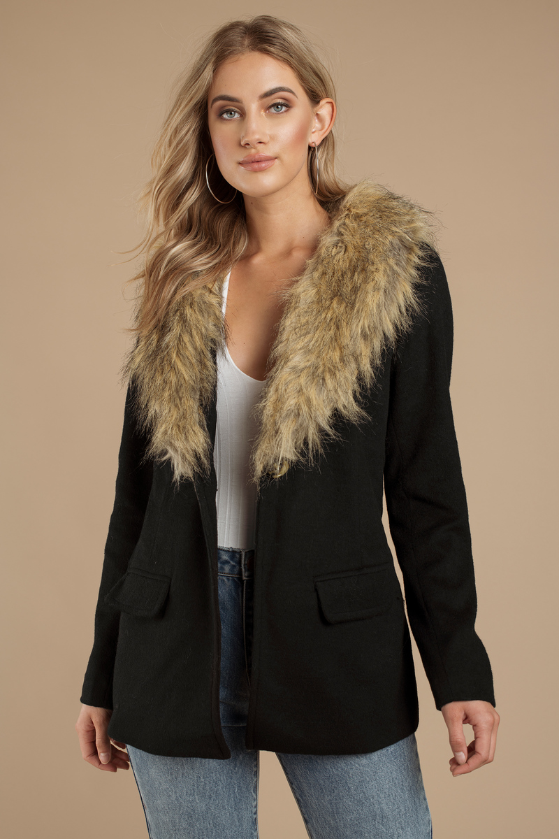 Trendy Black Coat - Black Coat - Faux Fur Coat - $55.00