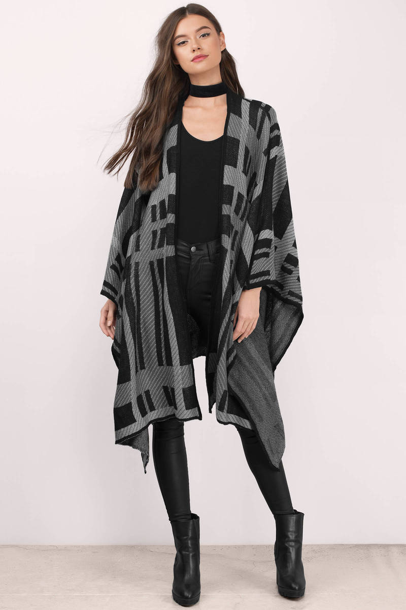 Wrapped In Black Plaid Knitted Cardigan