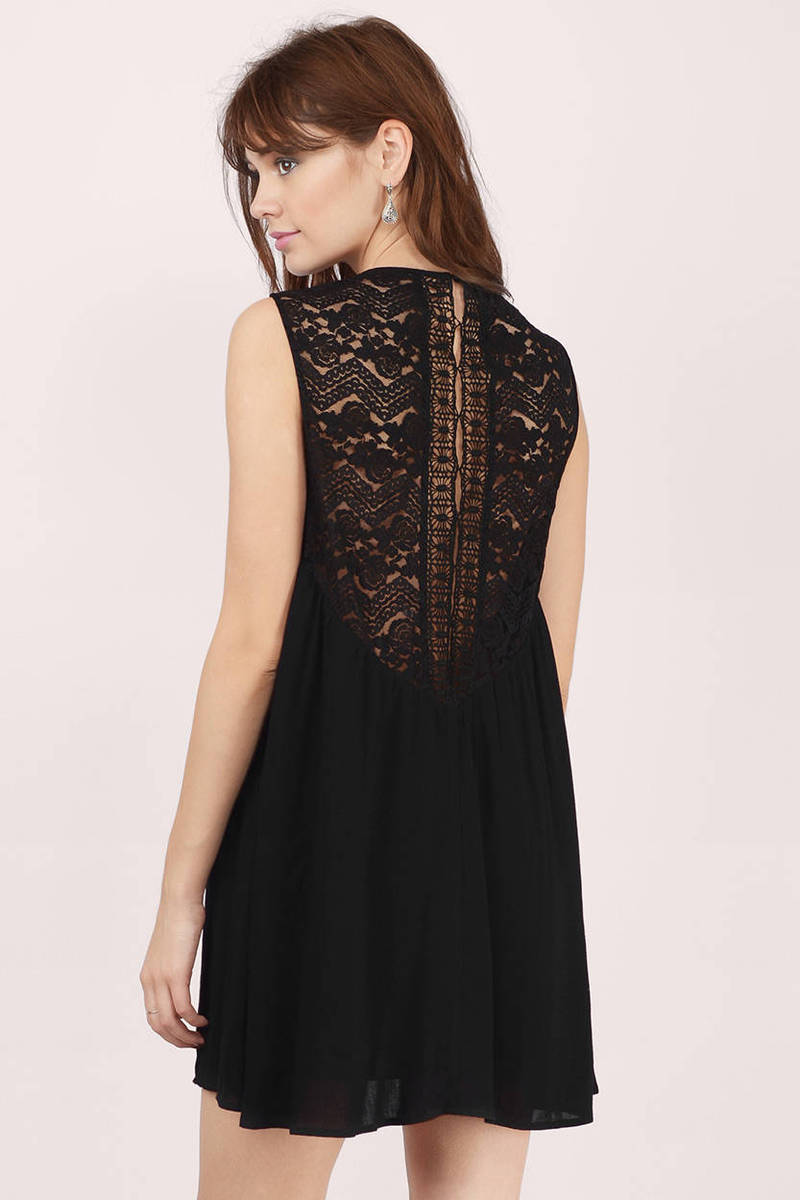 Cheap Black Skater Dress - Boho Lace Dress - Skater Dress - $15