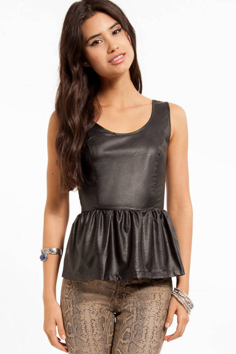 Zelda Leather Peplum Top