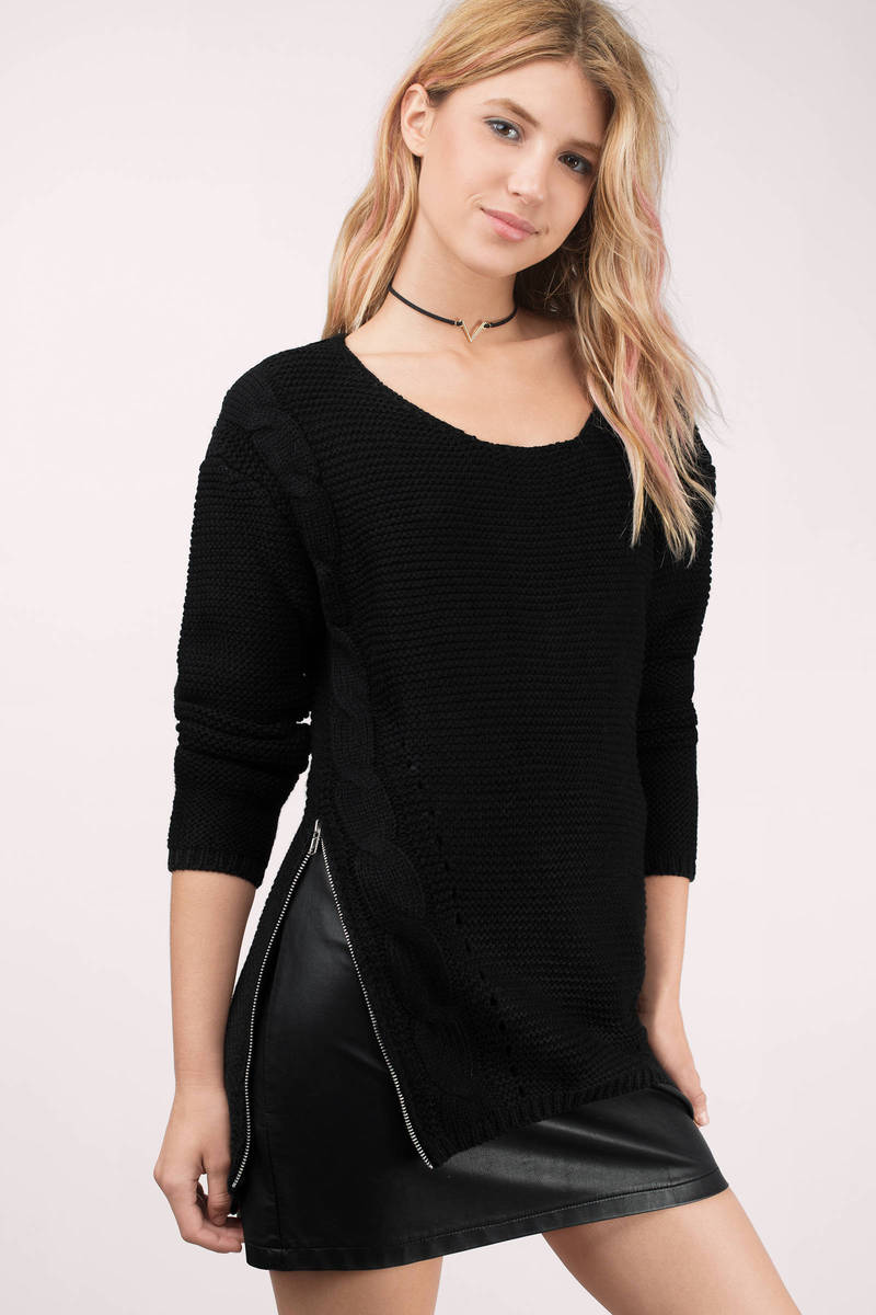 Zip It Up Black Cable Knit Sweater