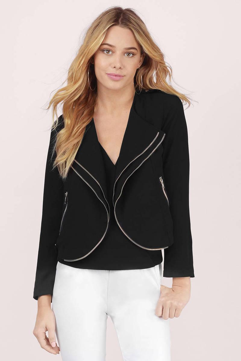 Zip To It Black Blazer