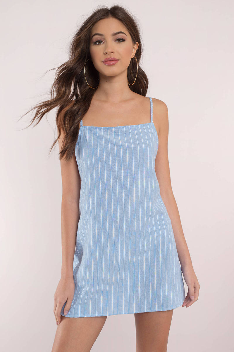 All The Stripe Places Blue Shift Dress