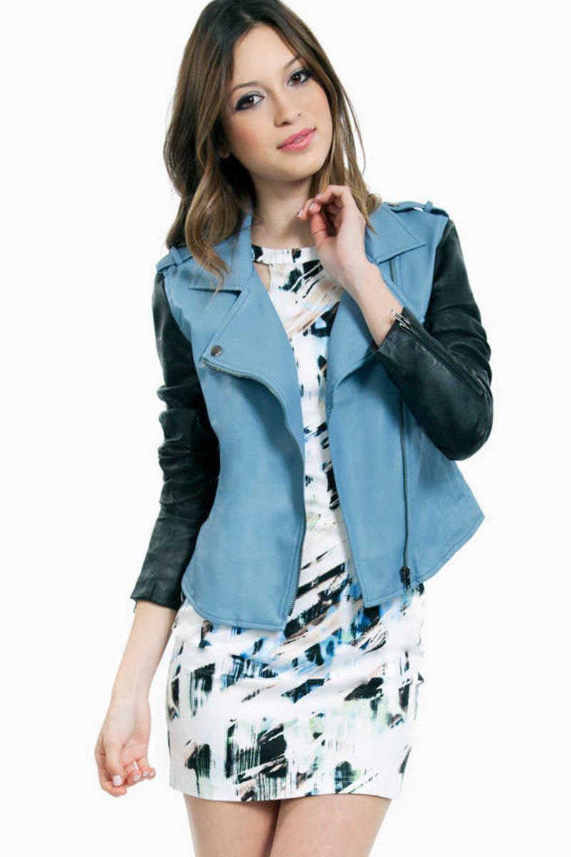 Contrast Sleeve Leather Jacket