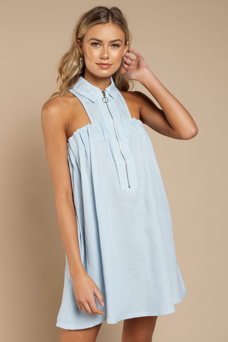 411064e84791 Cute Blue Shift Dress - Sleeveless Dress - Collared Dress - $14 ...