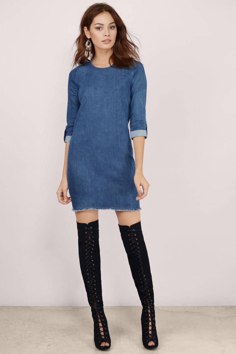 Blue Shift Dress - Denim Shirt Dress - Blue Long Sleeve ...