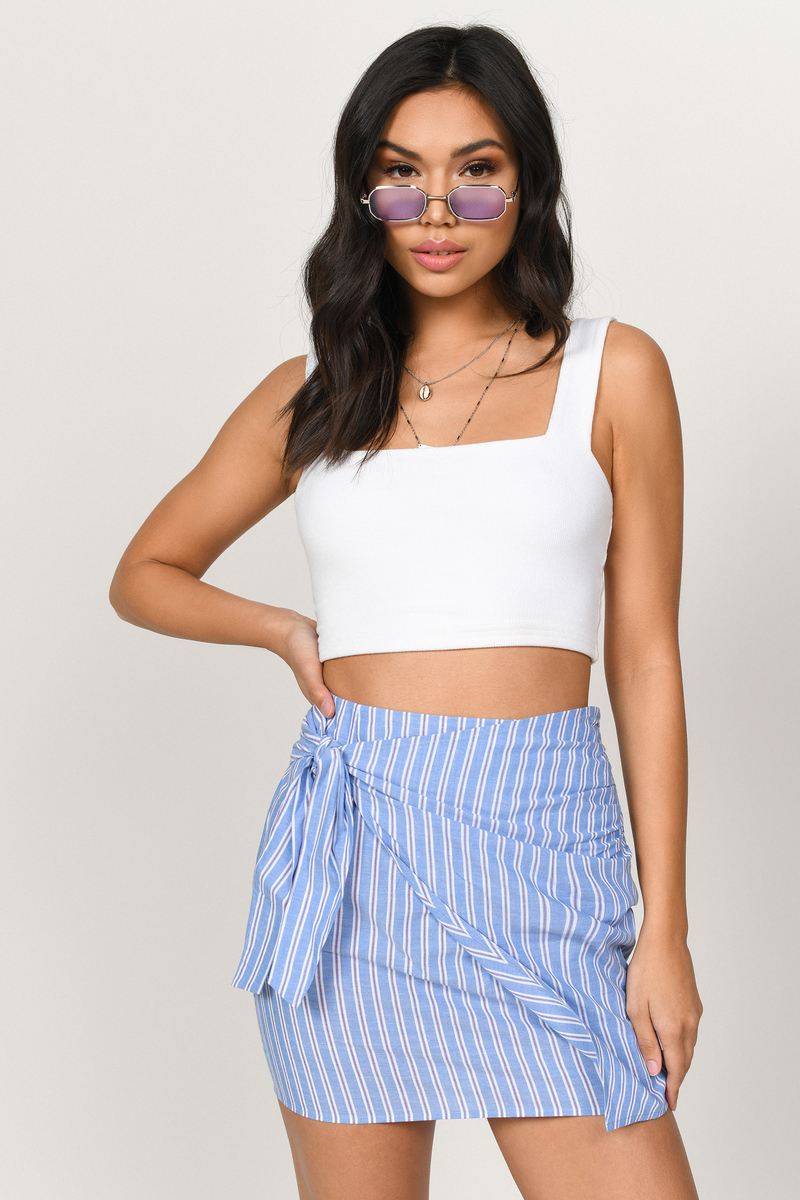 6030577dca Blue Skirt - Striped Wrap Skirt - Blue Tie Pencil Skirt - $14 | Tobi US