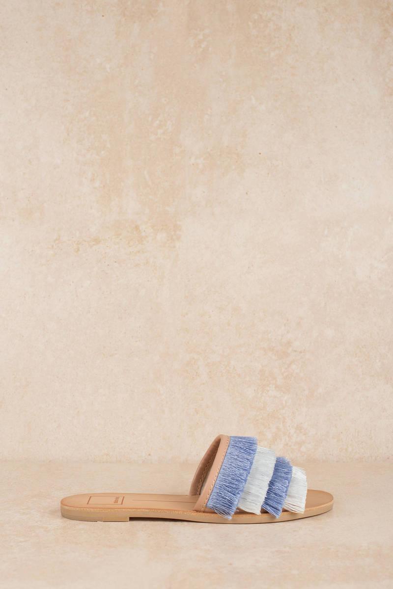 faae60600dd Blue Sandals - Flat Sandals - Blue Fringe Sandals - C  106