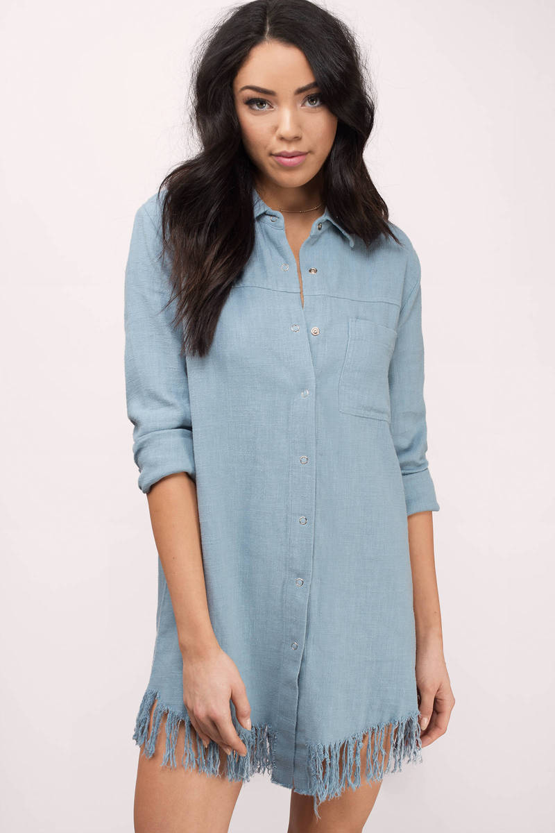 Moon River Moon River Cole Blue Denim Button Down Shirt