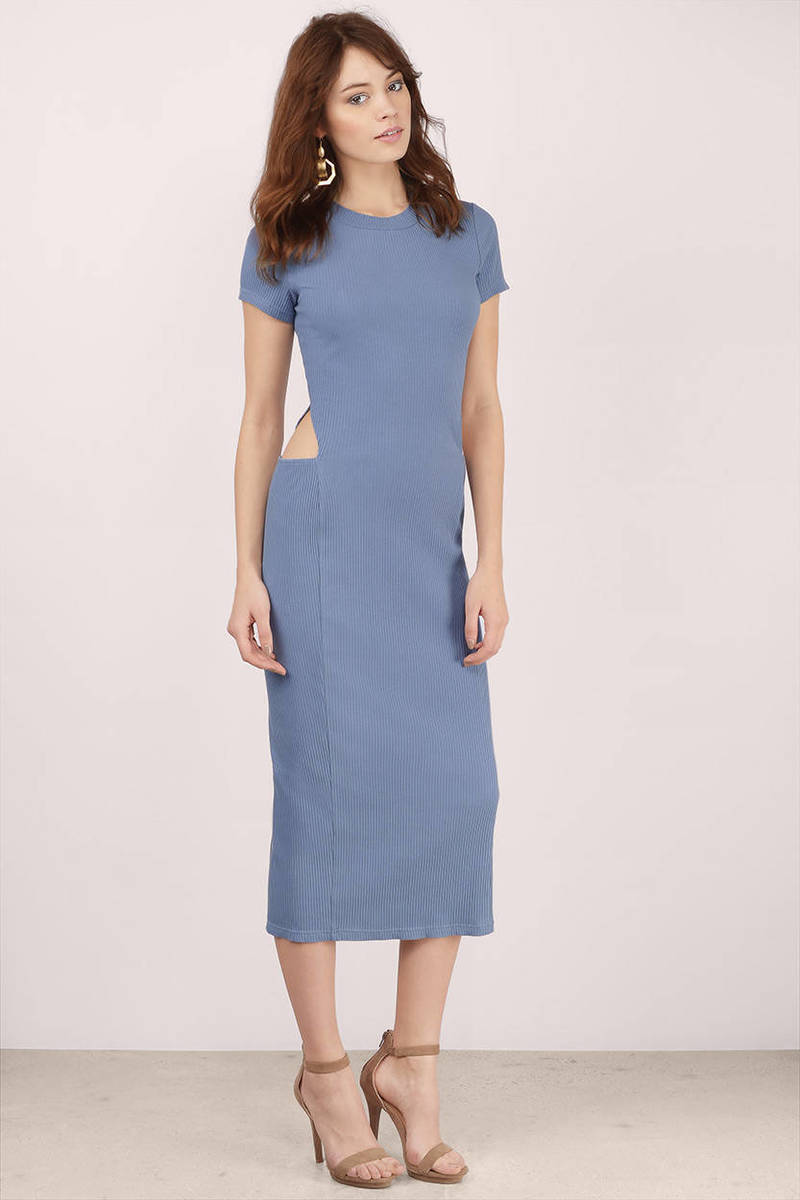 trendy blue midi dress  blue dress  cut out dress  midi