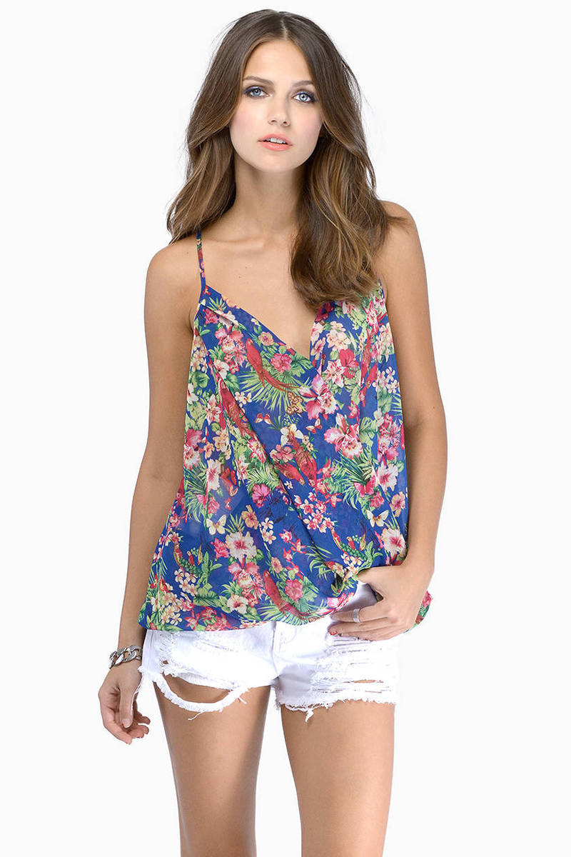 Bearing Arms Blue Floral Tank Top