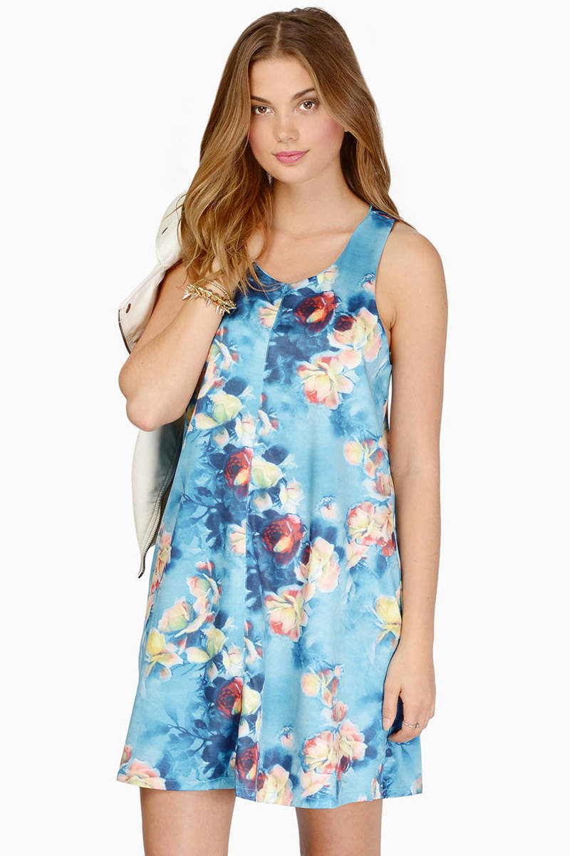 Floral Fields Blue Floral Shift Dress