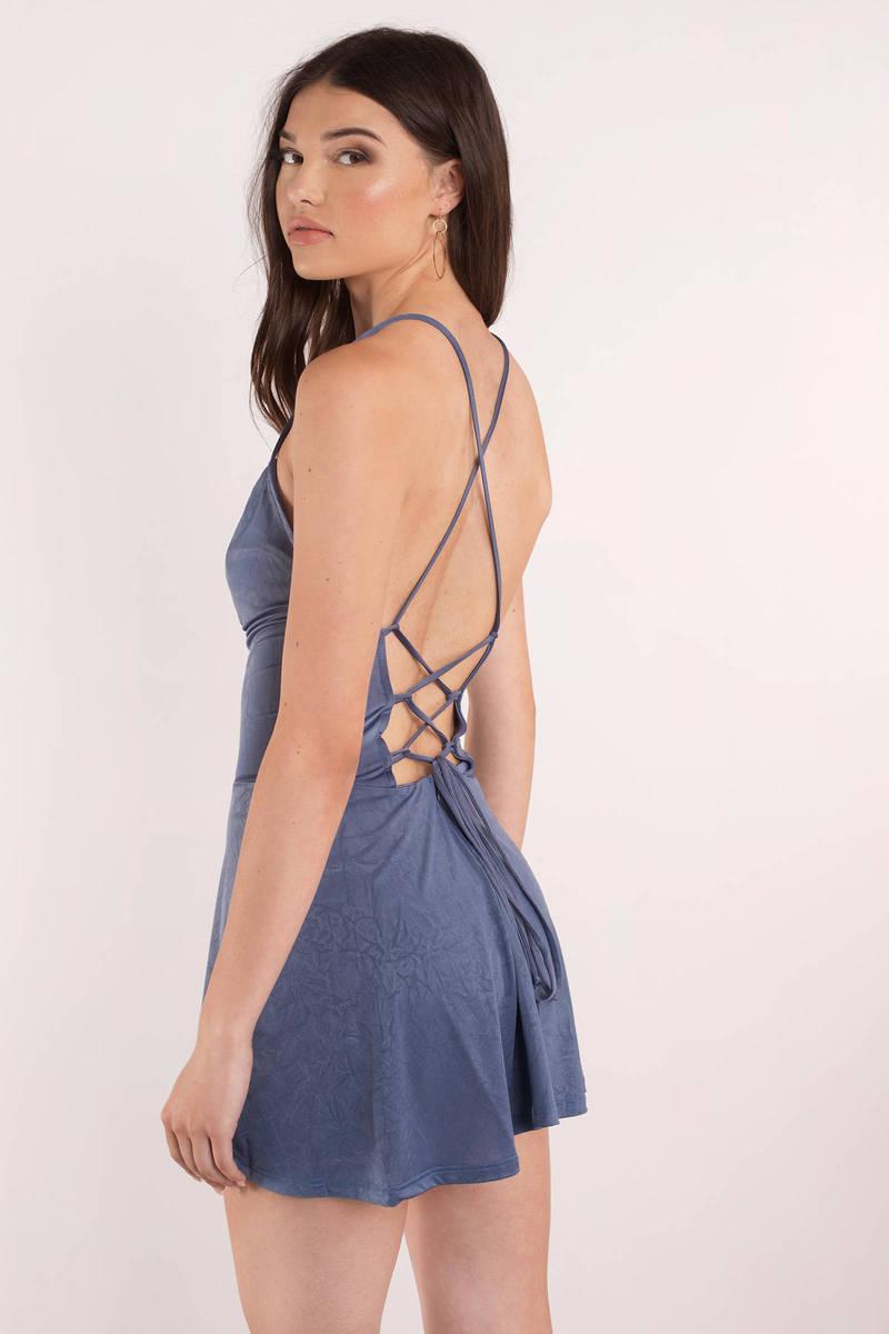 Forever Blue Lace Up Skater Dress