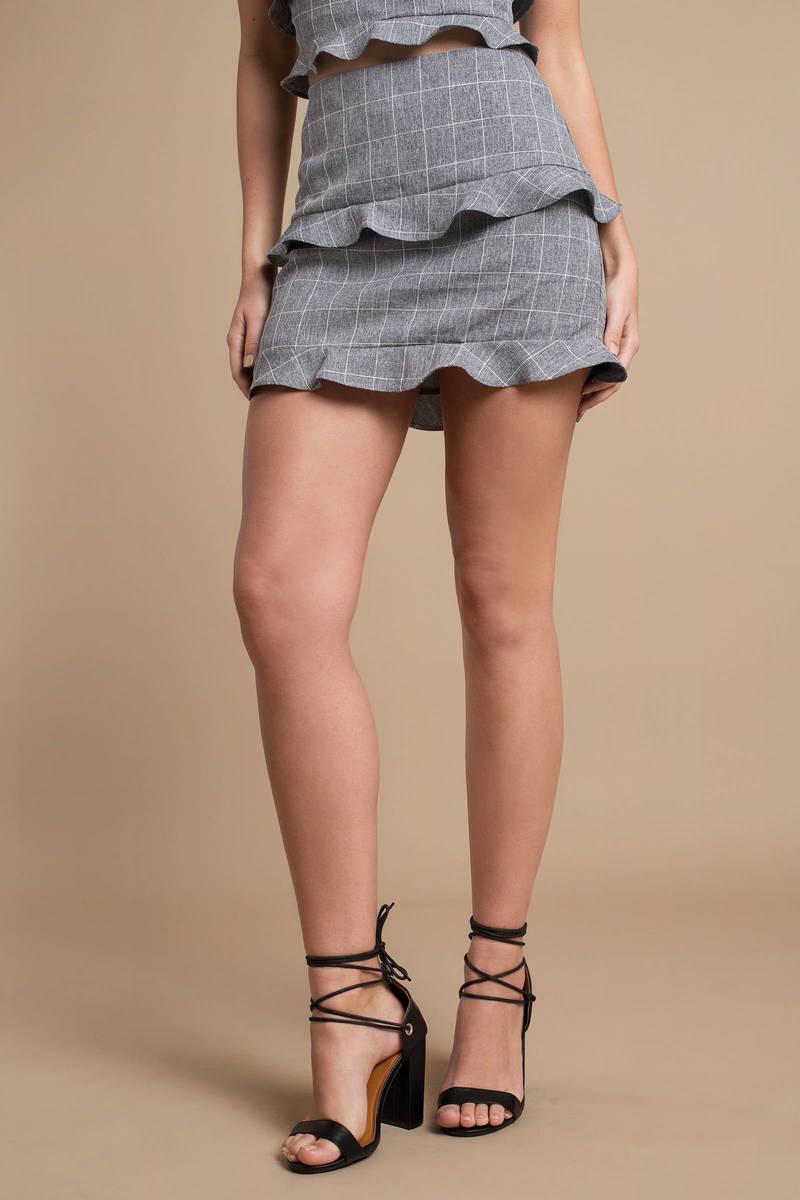 Grey Skirt Ruffled Mini Skirt Grey Plaid Skirt Office Skirt