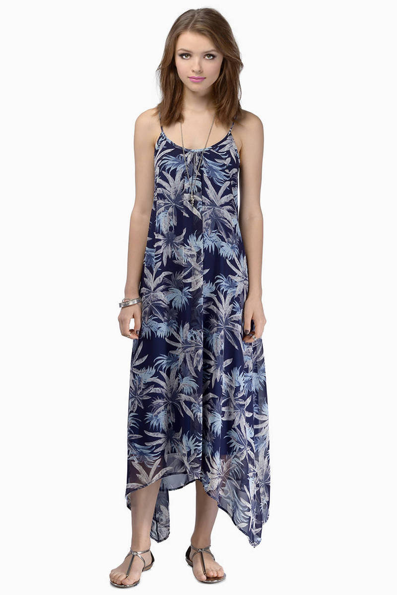 Island Fantasy Green Palm Print Maxi Dress