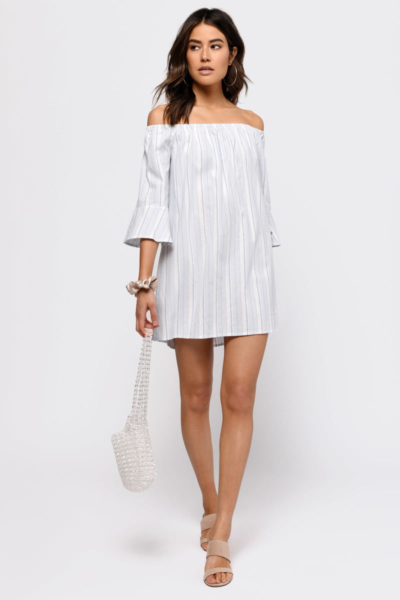 be142001449b Blue Dress - Off Shoulder Dress - Striped Swing Dress - Shift Dress ...