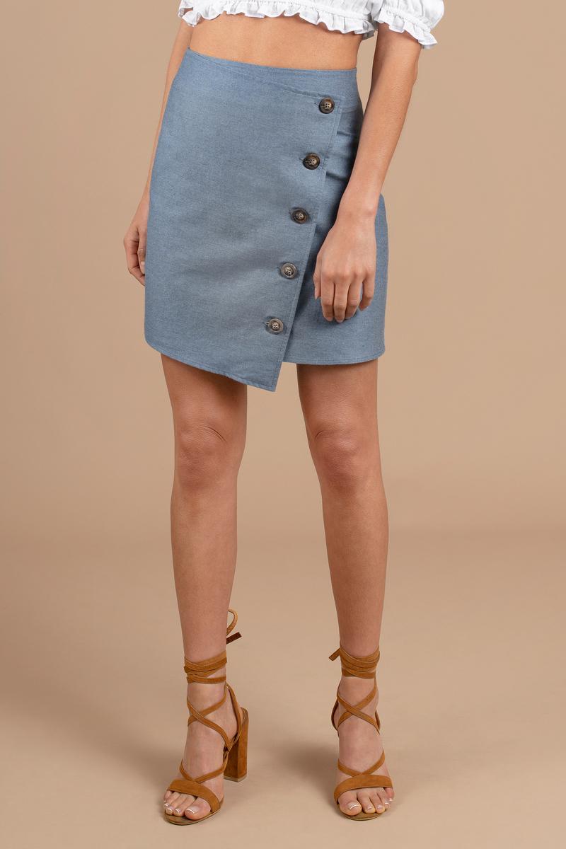 01a5940b32f1 Blue Joa Skirt - Button Up Wrap Skirt - Blue Cotton Skirt - $58 ...