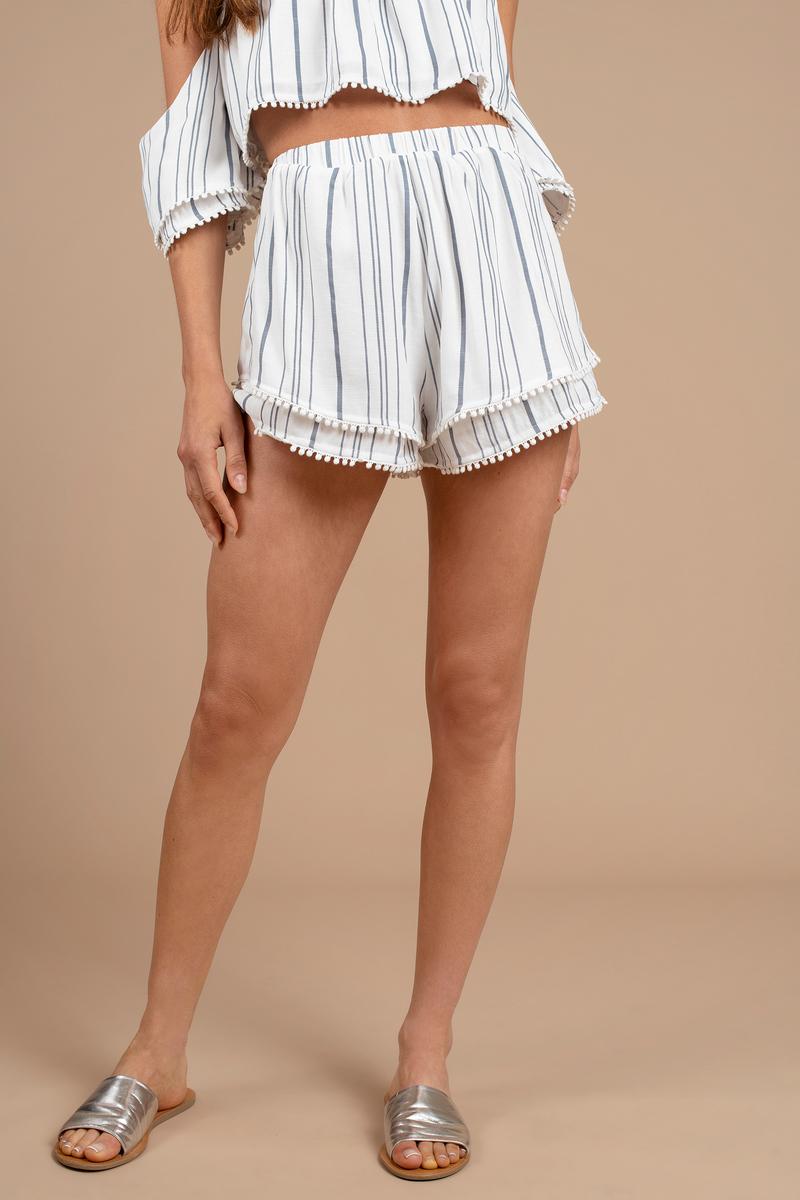 1ccbe98f49 Blue Shorts - Ruffled Shorts - Blue Striped Shorts - Pom Pom Shorts ...