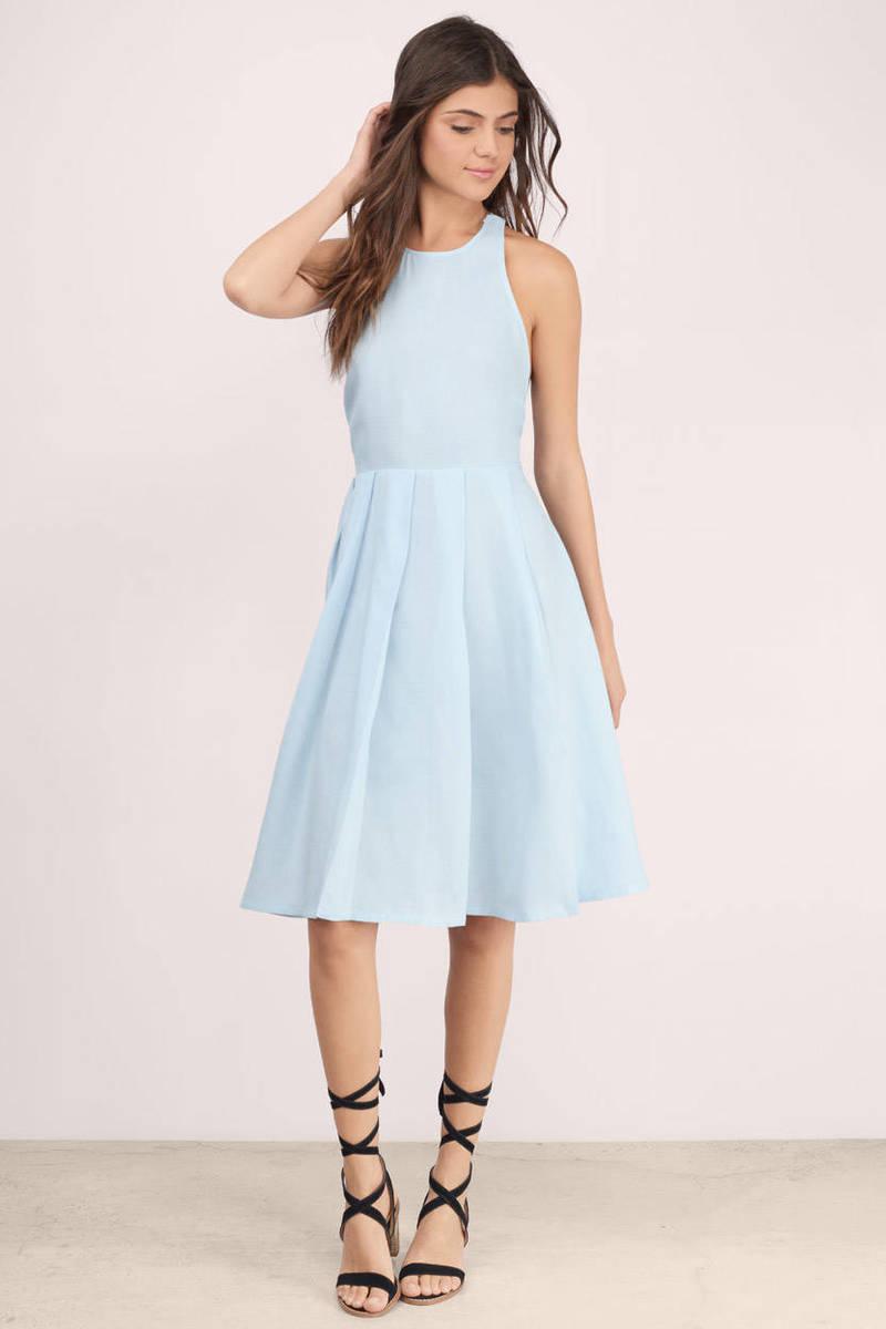 c84ea03bc788 Trendy Blue Midi Dress - Blue Dress - Pleated Dress - Midi Dress ...