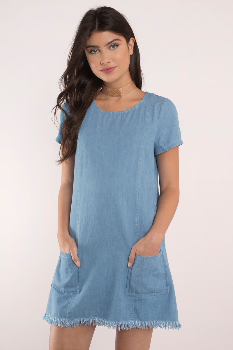 Maverick Blue Chambray Shift Dress
