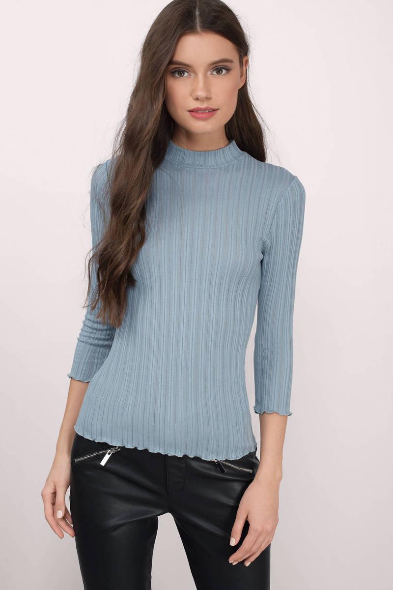 Meredith Blue Ribbed Shirt
