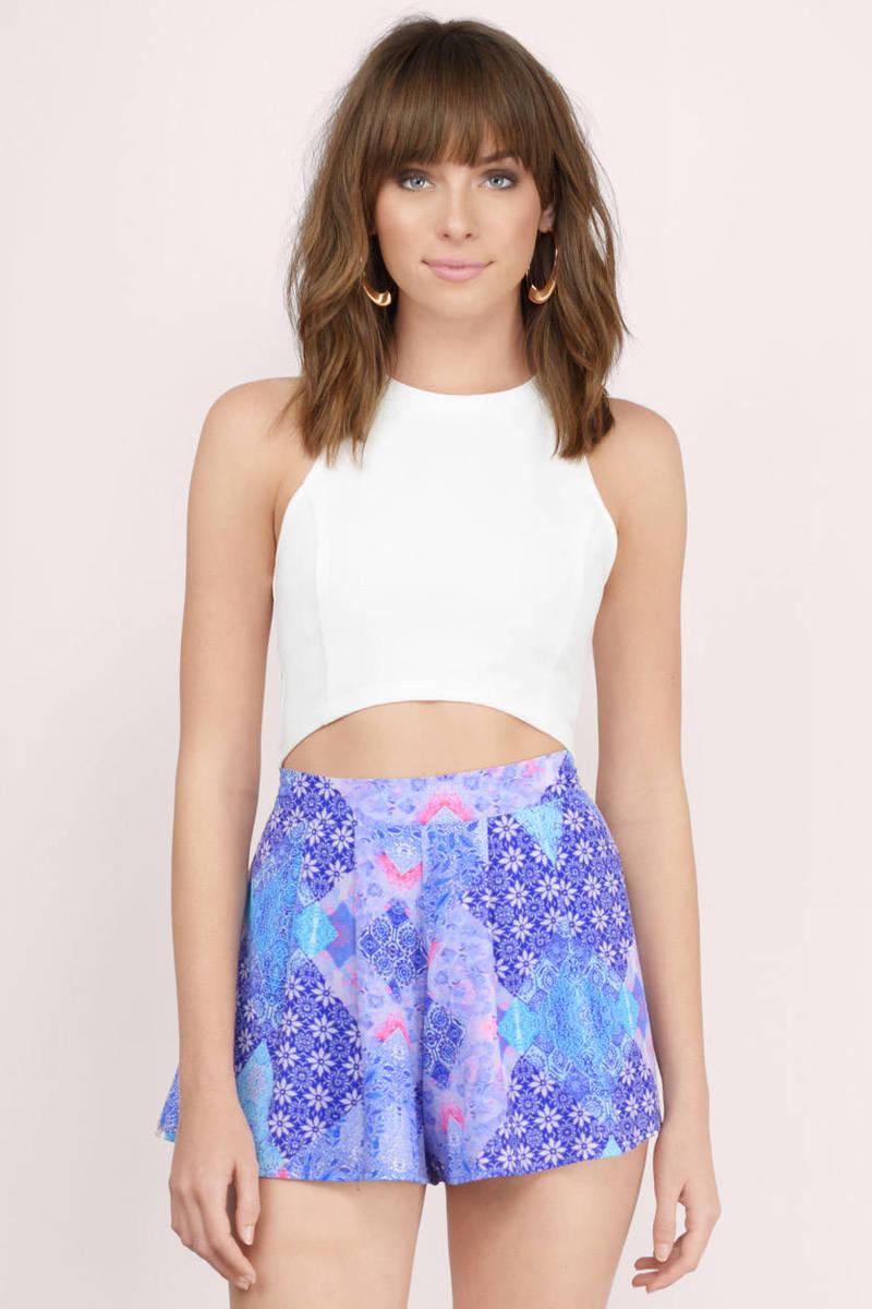 Blew Me Away Blue Multi Print Shorts