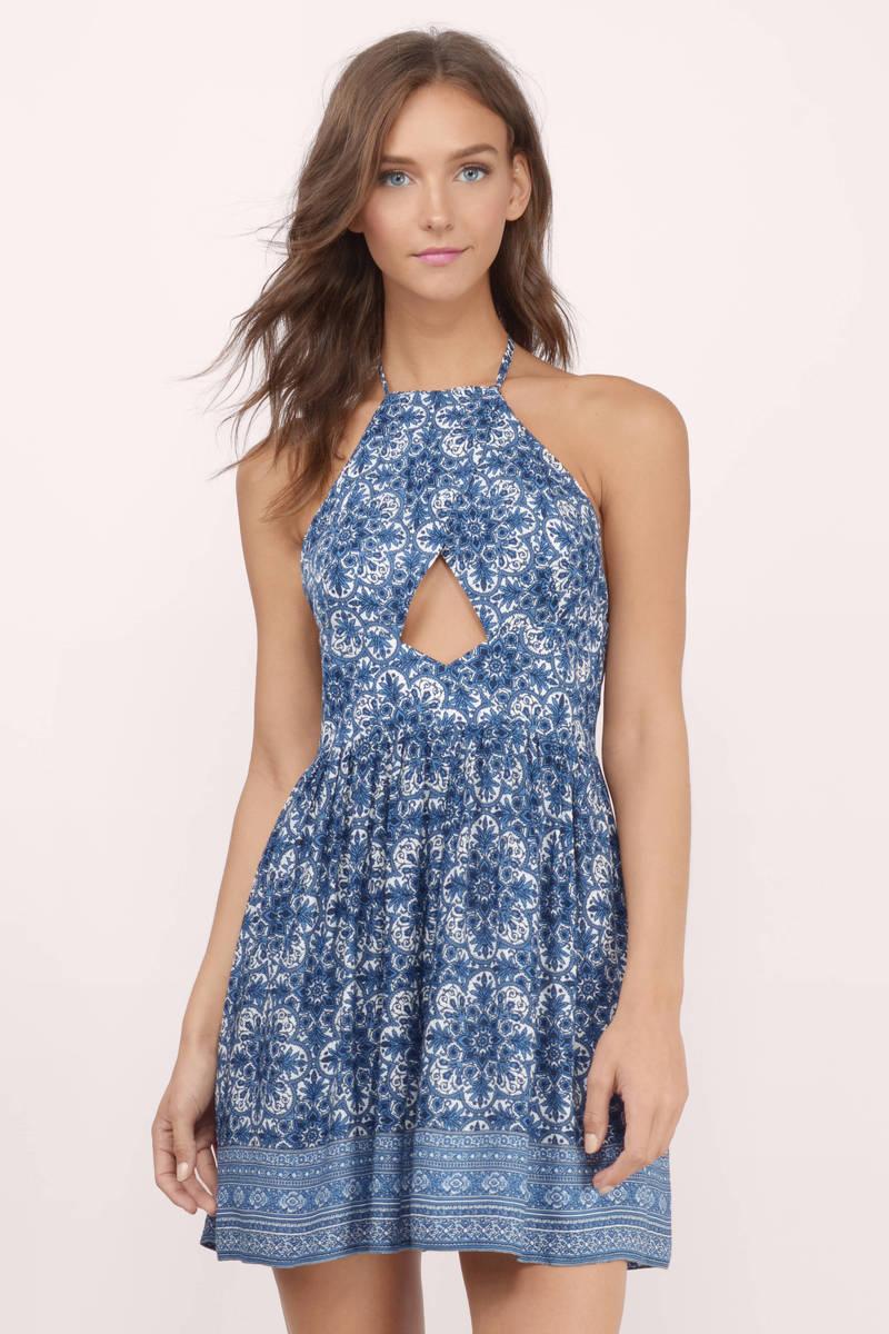 Delina Blue Multi Skater Dress